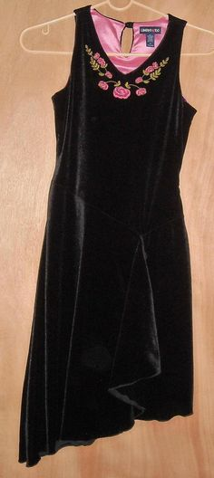 Limited Too Girls Black Velvet Dress with Pink Detail Size 12 Ships Free to USA #LimitedToo