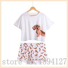 Best Seller Cute Women's Pajama Sets Dachshund Print 2 Pieces Set Suit Crop Top + Shorts Elastic Waist Loose Plus Size S6706