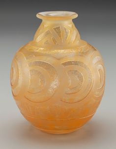 Daum Acid-Etched Art Deco Vitrified Yellow Glass Vase Circa 1930. Engraved DAUM (Cross of Lorraine) NANCY, FRANCE Ht. 6-1/4 in.1