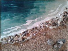 Best 12 Beach – acrylic mixed media painting on canvas inches by V. Seashell Art, Seashell Crafts, Sea Crafts, Painted Shells, Sea Art, Seascape Paintings, Mixed Media Canvas, Pebble Art, Beach Themes