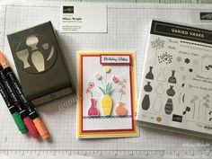 Today our team challenge was to create a a card using products from the new catalogue, I used my favourite bundle the Varied Vases bundle, stampset and matching punch. Team Challenges, Vases, Punch, Stampin Up, Card Ideas, My Favorite Things, Crafts, Crafting, Jars