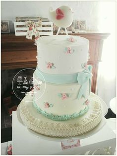 Floral cake at a romantic shabby chic baptism birthday party! See more party ideas at CatchMyParty.com!