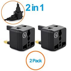 Yubi Power 2 in 1 Universal Travel Adapter with 2 Universal Outlets  Built in Surge Protector  Black 2 Pack  Type G for United Kingdom England Hong Kong Ireland Scotland Saudi Arabia and more *** Continue to the product at the image link.