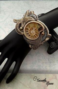 """Купить Браслет """"Ариадна"""" - серый, бежевый, олевковый, браслет, вышитый браслет, Вышивка бисером"""