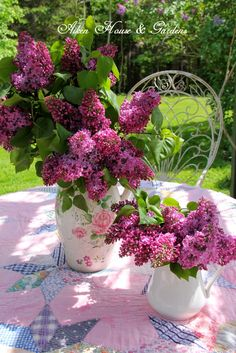 Aiken House & Gardens:Lilac bouquets and a vintage quilt. Lilac Bouquet, Lilac Flowers, Beautiful Flowers, Deco Floral, Arte Floral, Floral Arrangements, Flower Arrangement, Home And Garden, Spring Garden