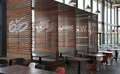 Sweet Nike graphics on wood slats at Nike Headquarters