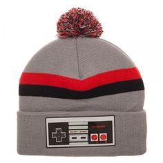 Nintendo Classic Controller Pom Beanie Winter Hat Cap Video Game Grey NES Stripe #Bioworld #Beanie