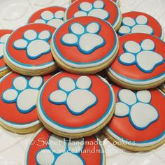 Paw Patrol cookies.  #sweethandmadecookies #customcookies #decoratedcookies #designercookies #cookies #bradfordontariocookies #pawpatrolcookies #pawpatrol #charactercookies