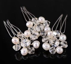 Crystal and Pearl Bridal Hair Combs  Wedding Hair by LizardiBridal, $49.00