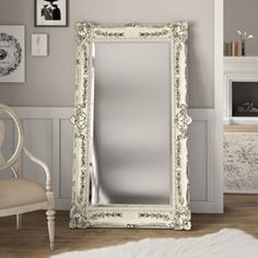 One Allium Way The floor mirror features a lovely antique white rubbed finish and an ornate floral and drape motif. The mirror features a full perimeter of beveled glass. Full Length Floor Mirror, Full Mirror, Full Length Mirror Vintage, Mirror Mirror, Mirror Ideas, Large Vintage Mirror, Mirror Framing, Dresser Mirror, Wood Mirror