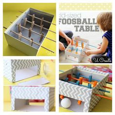 DIY Mini Foosball Table with Shoebox for Kids