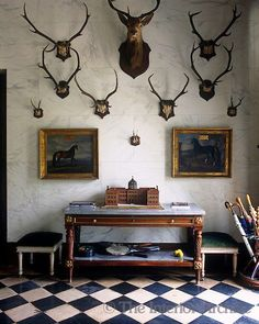 Sets of antlers are dsiplayed on the marbleised wall of the entrance hall ~ Chateau de Groussay, photo by Christopher Simon Sykes Decor, House Design, Interior, Interior Inspiration, Beautiful Interiors, Home Decor, House Interior, Trophy Rooms, Interior Design