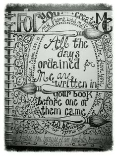 """Pen and ink #doodle #scripture #art journal# lettering# """"fearfully and wonderfully made"""""""