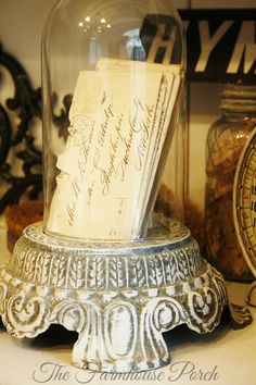 Re-purpose an old metal lamp base (postcards or recipes) Glass Domes, Glass Jars, Cloche Decor, The Bell Jar, Bell Jars, Old Letters, Shabby, Old Lamps, Apothecary Jars