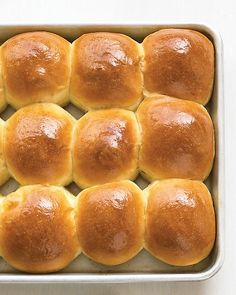 Dinner Rolls by marthastewart: These moist, tender dinner rolls are rich with eggs and butter. Once the dough is shaped, it can be wrapped tightly and frozen for up to two months before Thanksgiving. When ready to bake, simply add two hours to the second rising. #Rolls #Make_Ahead