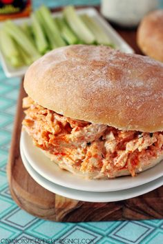 Slow Cooker Cheddar Buffalo Chicken Sandwiches with Ranch Dressing