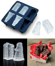 Dr who chocolate mold and ice cube tray. It would be so fun to make these chocolates and take them to parties.