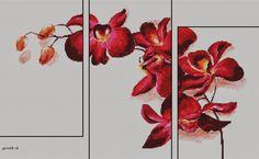 Hobby lavori femminili - ricamo - uncinetto - maglia: schema punto croce trittico