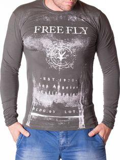 Bluza barbati Free Fly gri verde Interior Design, Long Sleeve, Sleeves, Mens Tops, T Shirt, Fashion, Green, Nest Design, Supreme T Shirt