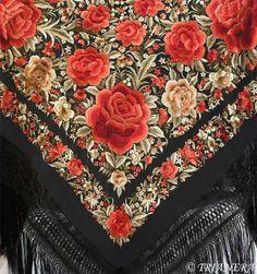 "Mantón de Manila ""1127NGCL"" by TRIANERA.COM Arabesque, Textures Patterns, Print Patterns, Dark Red Roses, Silk Shawl, Satin Stitch, Vintage Textiles, Silk Scarves, Simple Dresses"