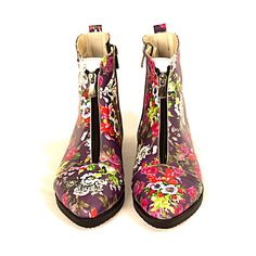 Ankle Pointed Boots FER104 / Goby shoes / whowhatwear / fashionista / printed shoes / flowers / autumn shoes / flower pattern