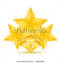 Three golden stars, vector eps10 illustration - stock vector