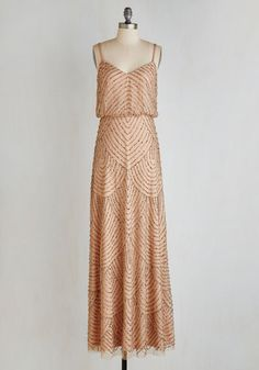 Calling All Romantics Dress - Tan, Beads, Scallops, Special Occasion, Vintage Inspired, 20s, Maxi, Spaghetti Straps, Long