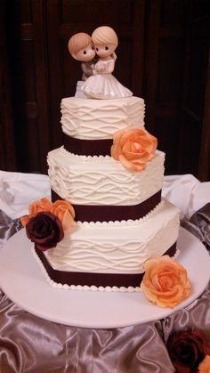 Textured Cake with Precious Moments Cake Topper