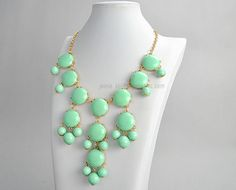 Bubble Bib Necklace,  Mint Bubble Necklace, Gold Tone Necklace, Bubble Necklace (FN0508-M-Mint). $11,90, via Etsy.