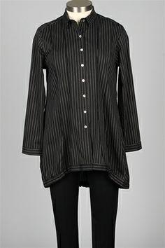Comfy USA - Tiffany Shirt  - Black & White Stripe