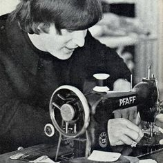 John Lennon with a sewing machine! From the Hawthorne Threads blog