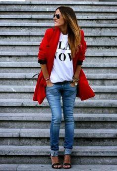 赤のコートデニム
