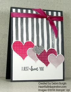 Stripes and hearts | Heartfelt Inkspiration | Bright colors and sparkle add to the fun! Click to read more about this card.