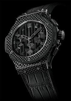 Hublot Big Bang All Black Carbon Fiber Watch Hublot All Black, Hublot Watches, Men's Watches, Watch Master, Expensive Watches, Carbon Black, Luxury Watches, Bigbang, Carbon Fiber