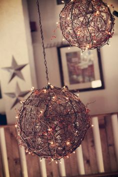 Great lighting idea - Twine balls with clear mini lights