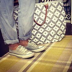 Shoes on Dash and Albert\'s Herringbone Ocean Woven Cotton Rug ...
