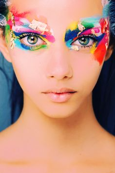 Blue. Green. Yellow. Red. Pink. Turquoise. patchwork eyes  Fashion and editorial Hair and Makeup