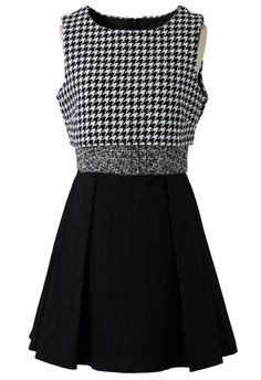 Houndstooth Open Back Sleeveless Dress