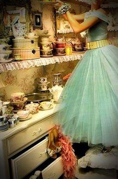 vintage blue dress in a vintage kitchen    <3 such a pretty set. inspired