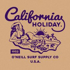 Vintage Graphic Design Design for Oneill USA by RiseWise Beach Illustration, Graphic Illustration, Vintage Graphic Design, Vintage Designs, Design Art, Logo Design, Branding Design, Badge Design, Vintage Ads
