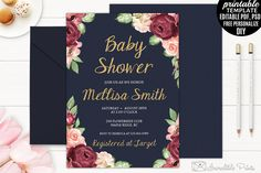 Navy and Marsala Baby Shower Invite by Incredible Prints on @creativemarket