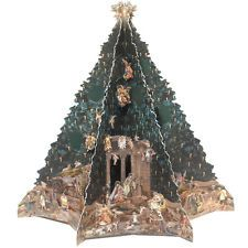 Christmas Advent Calendar Vintage Tree w/Creche Christmas Decorations Activity