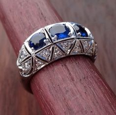 Blue Sapphire Diamond Platinum Art Deco Antique by DeAguiarDesigns