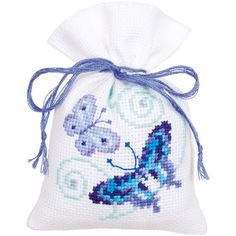 "Blue Butterflies Bags On Aida Counted Cross Stitch Kit-3.25""X4.75"" 18 Count Set Of 3"