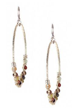 Multicolor Bead Hoop Earrings  by Chan Luu on @HauteLook