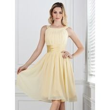 A-Line/Princess Scoop Neck Knee-Length Chiffon Charmeuse Bridesmaid Dress With Ruffle - JJsHouse Cobalt Blue Dress Bridesmaid, Yellow Bridesmaids, Knee Length Bridesmaid Dresses, Cheap Bridesmaid Dresses, Wedding Dresses Plus Size, Wedding Party Dresses, Bridal Dresses, Chiffon Dresses, Formal Dresses