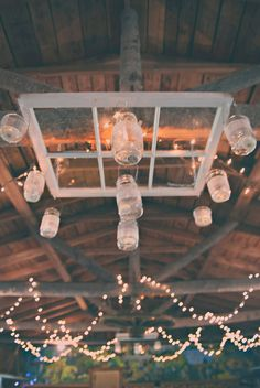 aawww, what to do with those mason jars with the solar lights on top and that old window...????