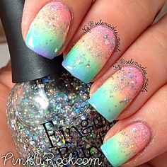 Nail art with glitter, ombre nail art, glitter gradient nails, pastel gradient, Fancy Nails, Diy Nails, Cute Nails, Pretty Nails, Gradient Nails, Rainbow Nails, Pastel Gradient, Galaxy Nails, Ombre Nail Polish