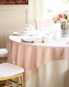 72 x 72 inches Square Blush Tablecloth, Blush Table Overlays for 5 ft Round Tables