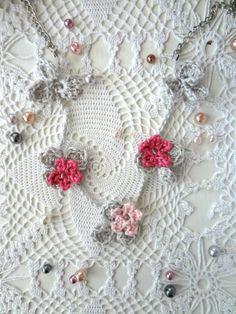 Crochet Flower Necklace 4 crochet necklaceflower by sewella